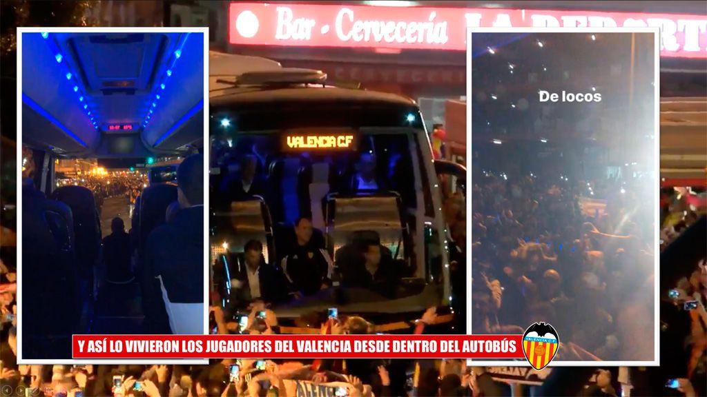 Los jugadores del Valencia alucinaron desde el bus con el ambientazo que les esperaba a su llegada a Mestalla: ¡qué momentazo!