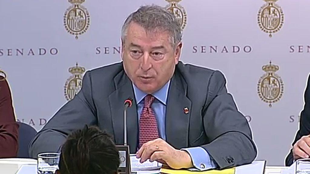 José Antonio Sánchez, presidente de RTVE, durante su comparecencia del 28 de noviembre en el Senado.