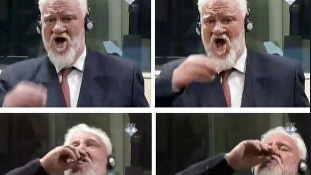 Bebe veneno en directo tras confirmarse su condena por crímenes en la Antigua Yugoslavia