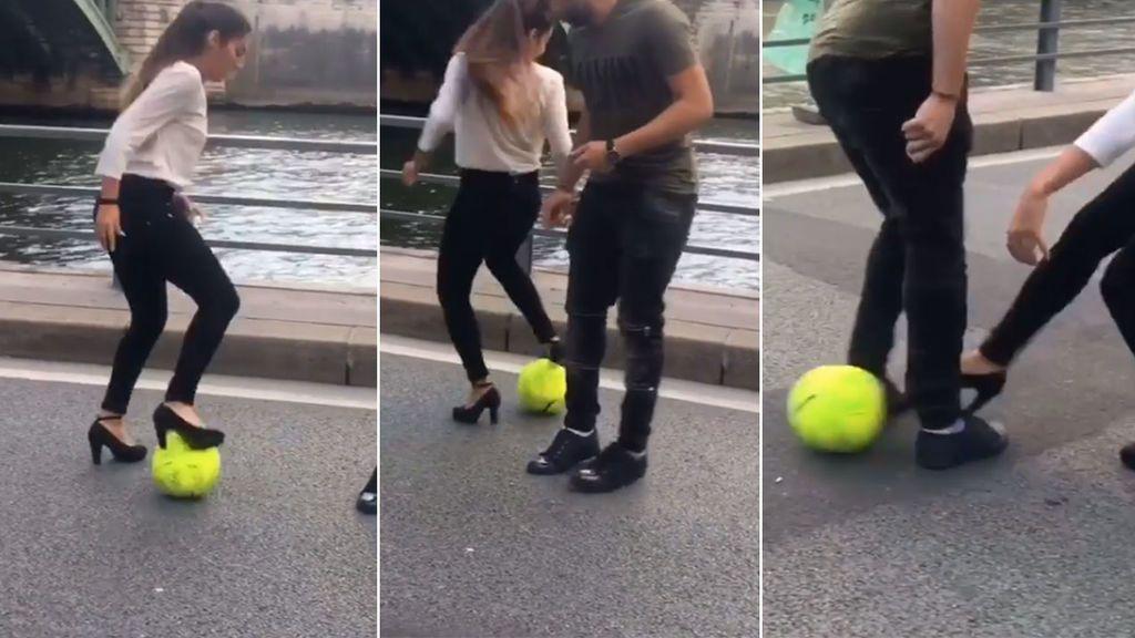 Lisa Zimouche, capaz de hacerte un caño con tacones, reta a cualquier futbolista a quitarle la pelota