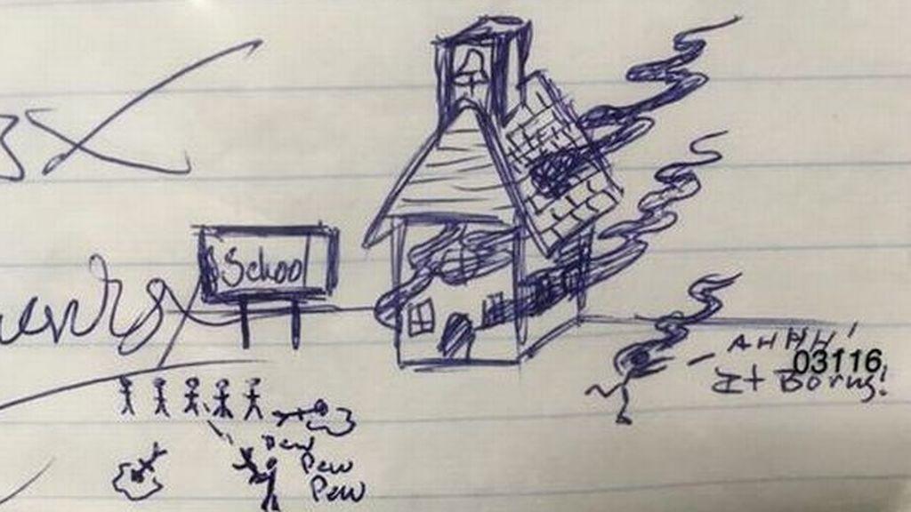 Detenido por dibujar una matanza en un colegio en los deberes de un niño