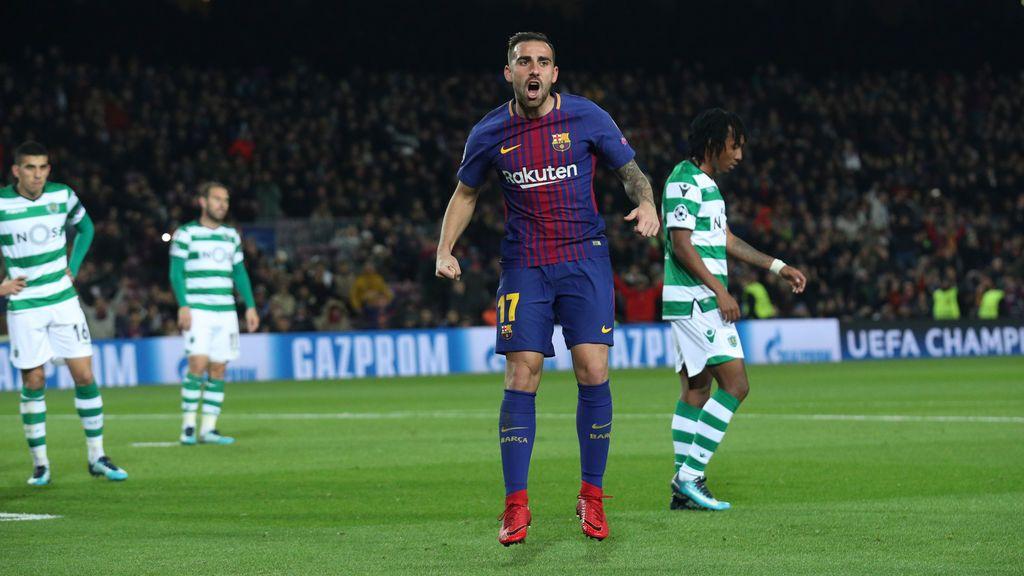 El Barça cumple con el Sporting (1-0) y Paco Alcácer se reivindica con el gol de la victoria