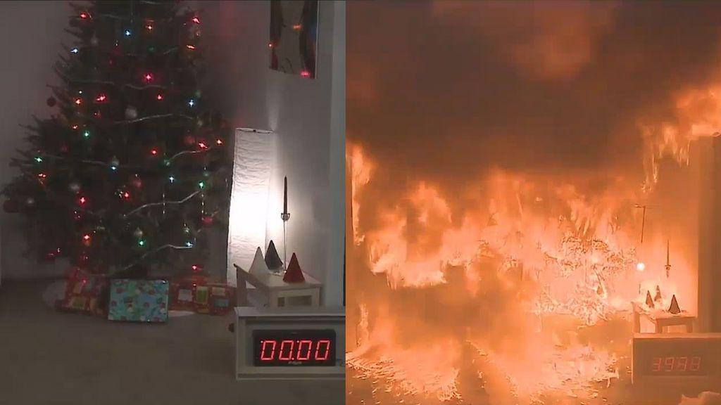 Un infierno en 40 segundos; el tiempo en el que arde un árbol de Navidad