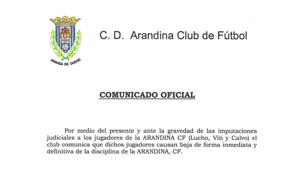 La Arandina comunica que sus tres futbolistas detenidos por presuntos abusos causan baja del equipo