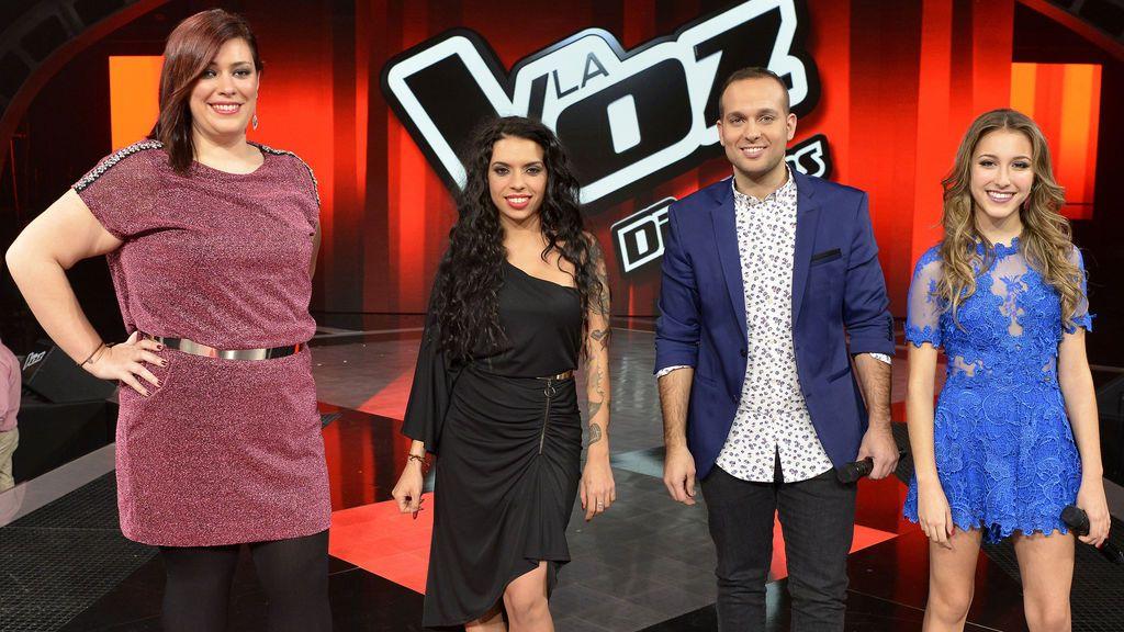 Charo, Laura, Carlos y Elena, semifinalistas de 'la voz 5'.