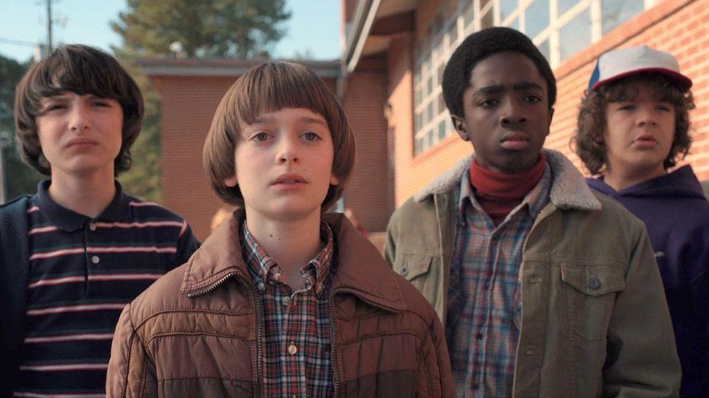 Finn Wolfhard, Noah Schnapp, Caleb McLaughlin y Gaten Matarazzo, protagonistas de 'Stranger things'.