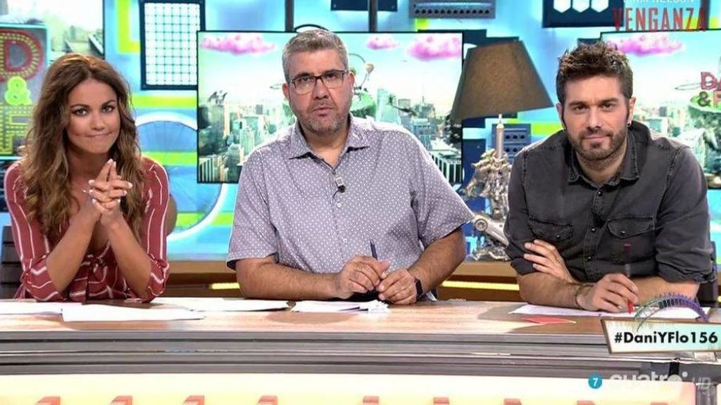 Lara Álvarez, Florentino Fernández y Dani Martínez, presentadores de 'Dani & Flo'.