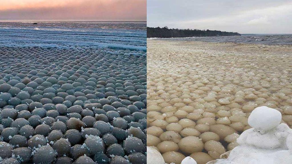 ¿Ves estas bolas de hielo gigantes? Te contamos qué fenómeno 'meteo' las produce