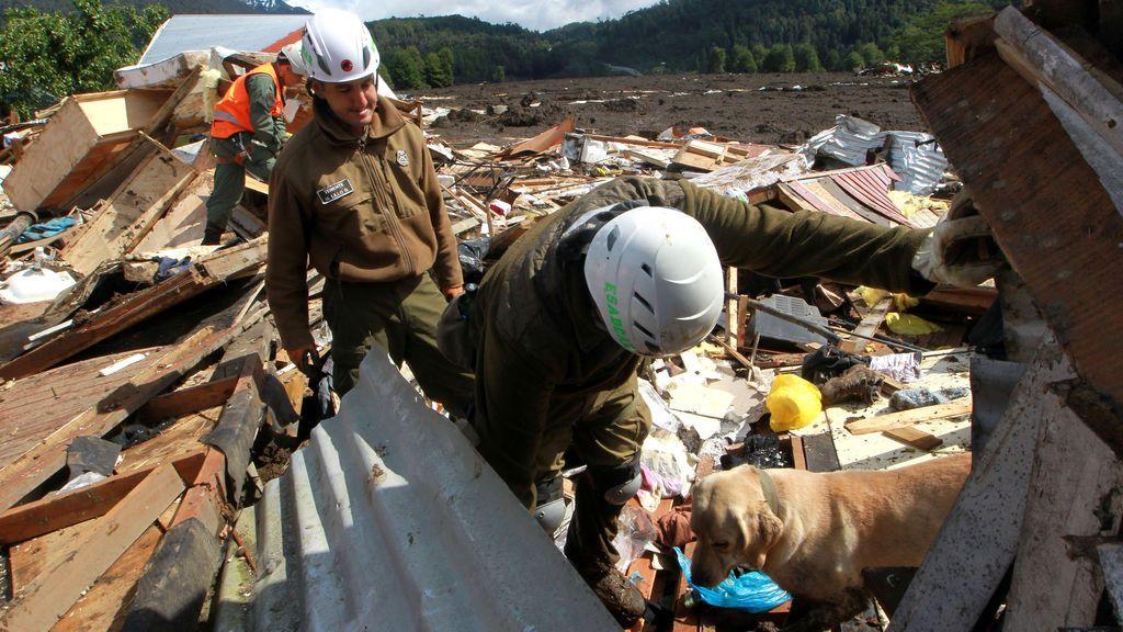 Los policías trabajan con perros de rescate mientras buscan a los residentes desaparecidos después de un alud de barro en Villa Santa Lucía, Chile