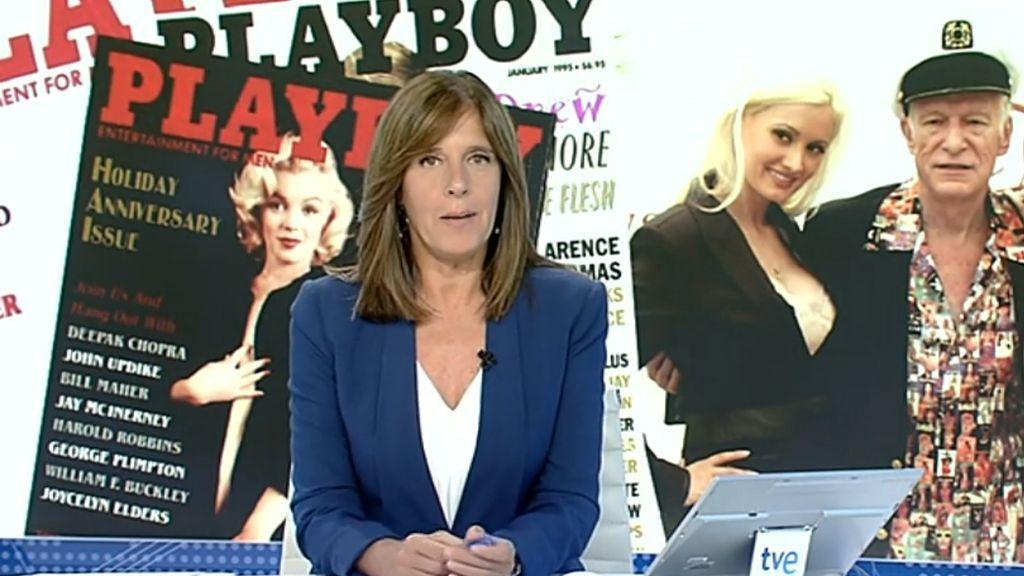 Momento del 'Telediario - 21 horas' de TVE en el que se recoge la muerte de Hugh Hefner, fundador de 'Playboy'.