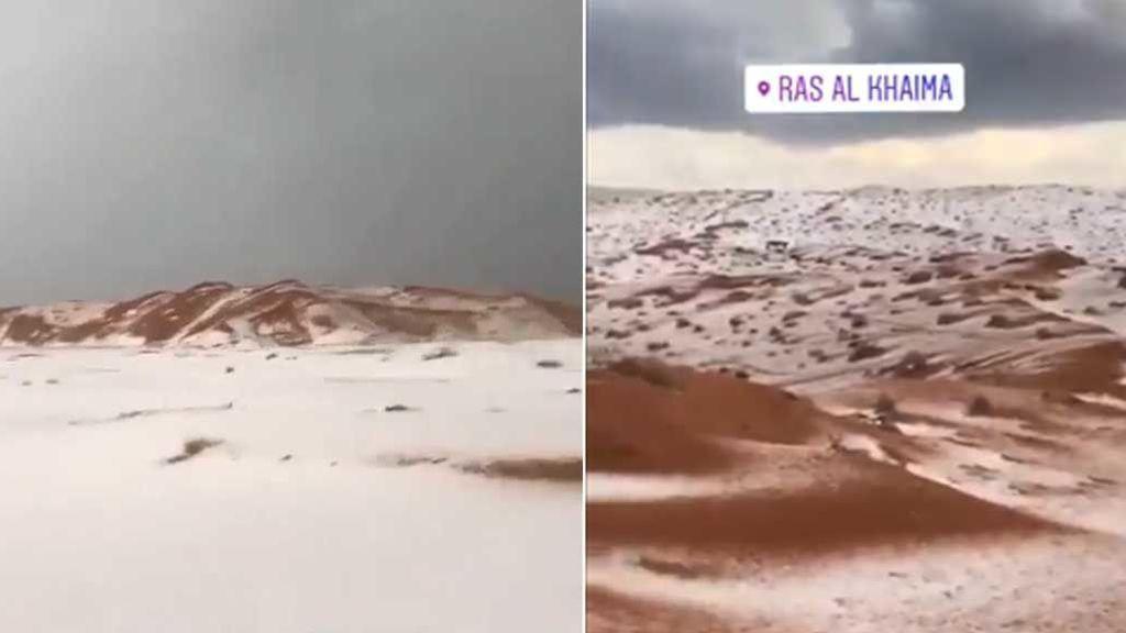Granizada en el desierto: un temporal deja las dunas completamente blancas