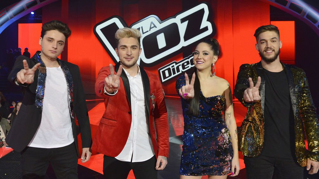 Gabriele, Samuel, Alba y Pedro, finalistas de 'La voz 5'.