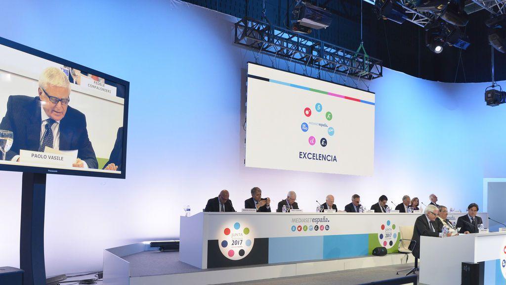 Imagen de la Junta de Accionistas de Mediaset España celebrada en abril de 2017.