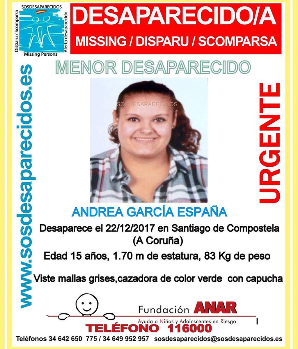 Buscan a Andrea García, una menor desaparecida en Santiago desde el viernes