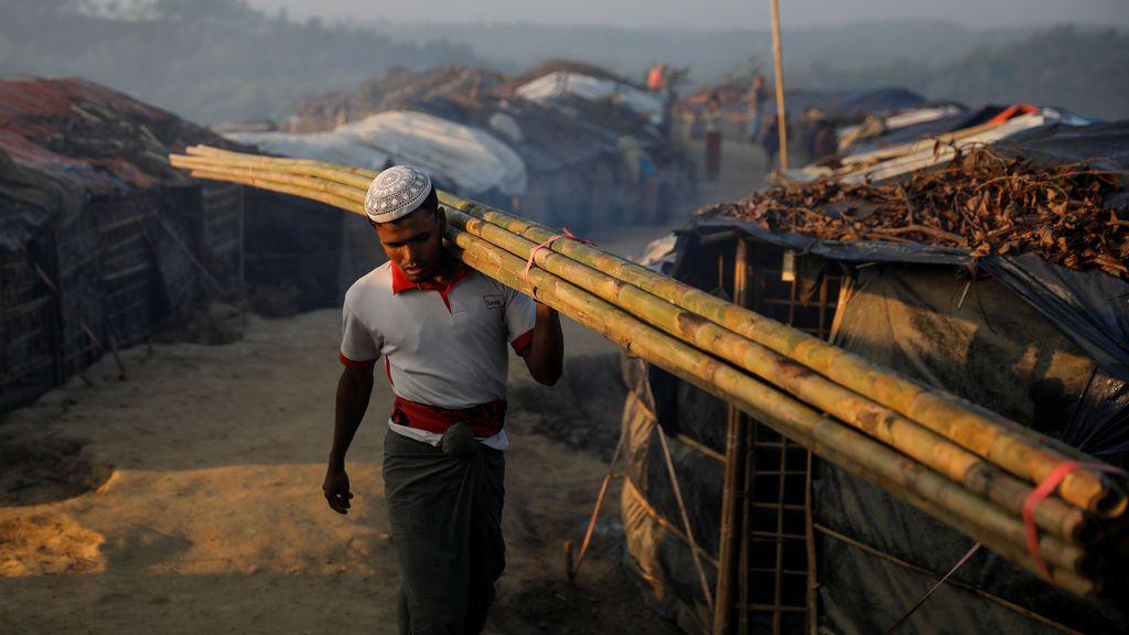 Un refugiado Rohingya lleva un árbol de bambú temprano en la mañana en el campo de refugiados de Birmania Para, cerca de Cox's Bazar, Bangladesh