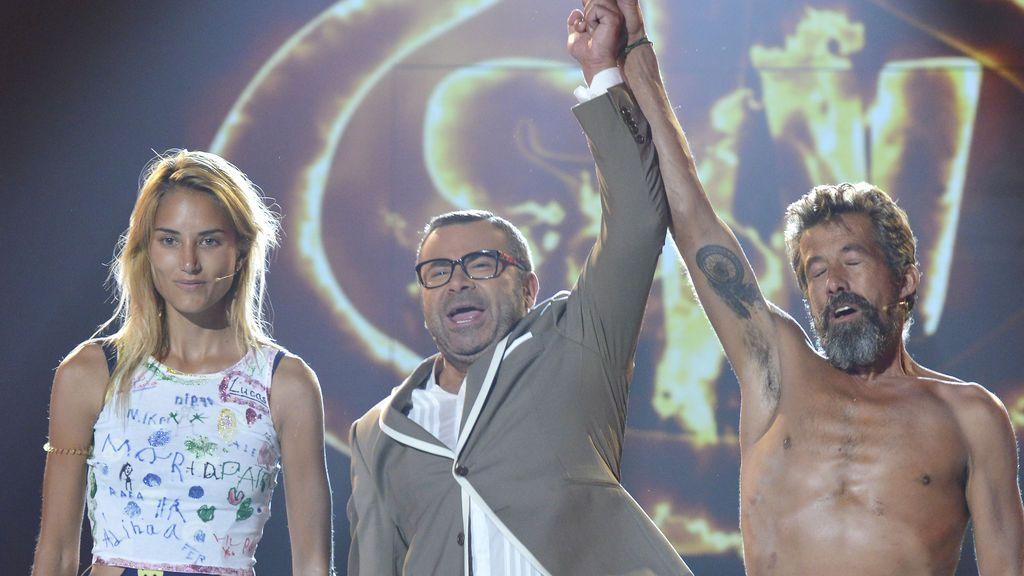 Alba Carrillo, Jorge Javier Vázquez y José Luiz, finalista, presentador y ganador de 'Supervivientes 2017', respectivamente.