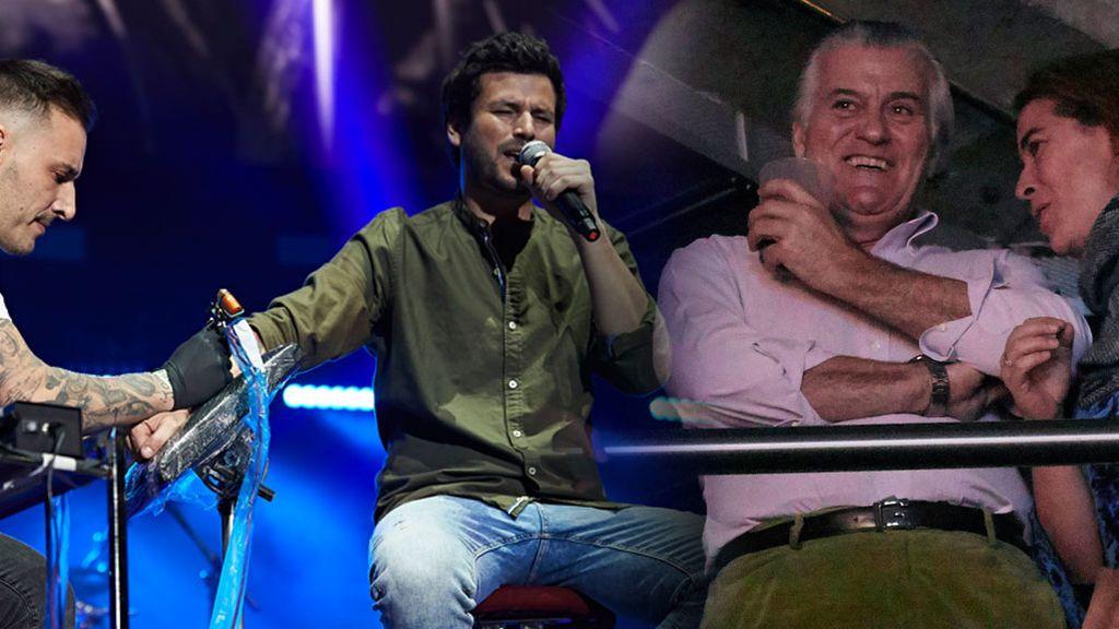 Willy Bárcenas se tatúa en directo en pleno concierto mientras su padre Luis lo da todo en las gradas