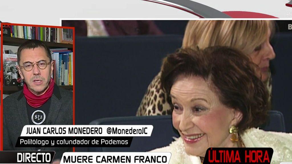 """Juan Carlos Monedero: """"La fortuna de los Franco debería ser embargada"""""""