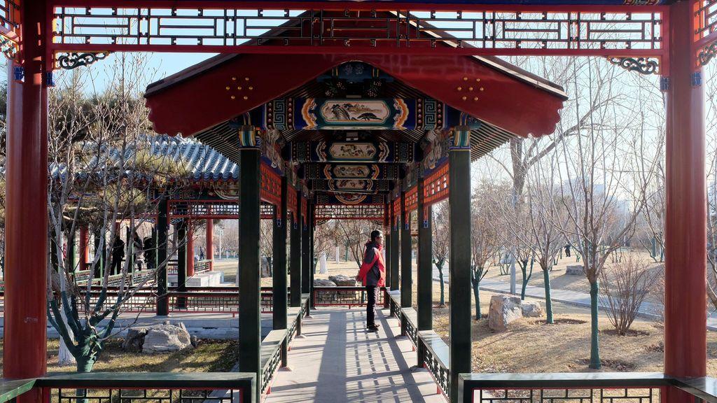 Un residente se encuentra en una galería tradicional china en un parque en un soleado día de invierno en el centro de Beijing, China