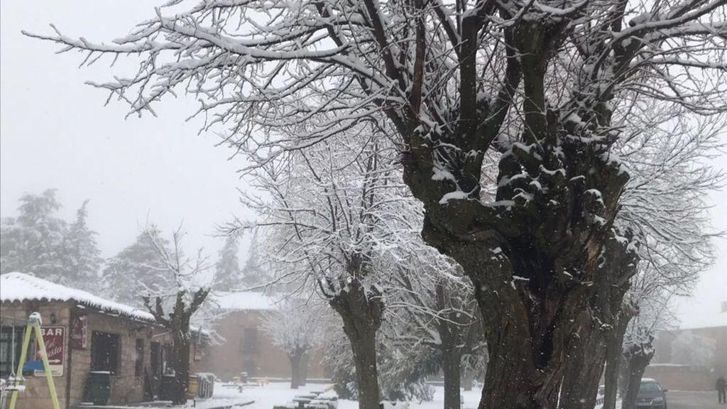 Marinaceli, en Soria, ha amanecido cubierta de nieve