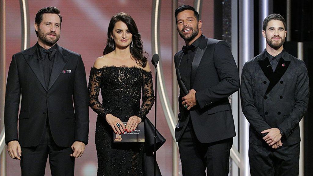 Edgar Ramirez, Penélope Cruz,  Ricky Martin y Darren Criss, en la 75º edición de los Globos de oro.