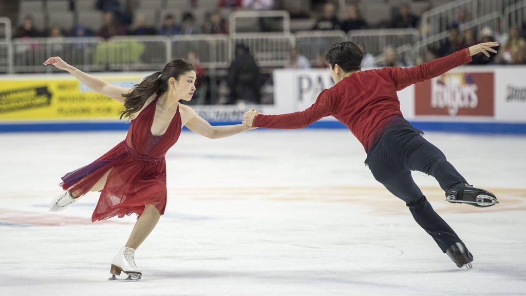 Maia Shibutani y Alex Shibutani actúan en el programa de baile sin patines durante el Campeonato de patinaje artístico de los Estados Unidos