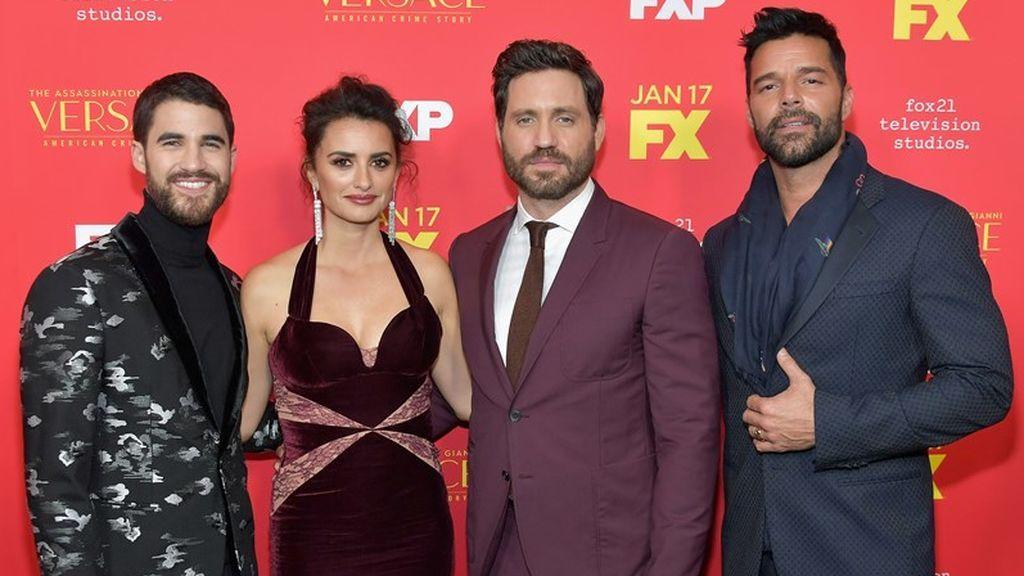 Darren Criss, Penélope Cruz, Edgar Ramírez y Ricky Martin, protagonistas de 'American crime story', en la presentación de la serie.