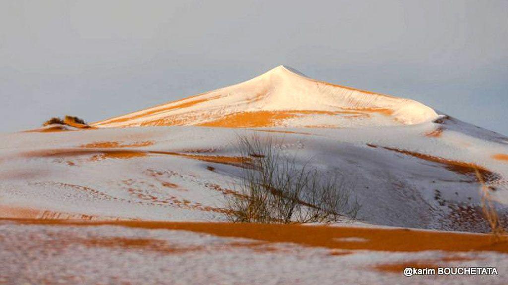 Una inusual tormenta dejó nieve en 'La puerta del desierto'