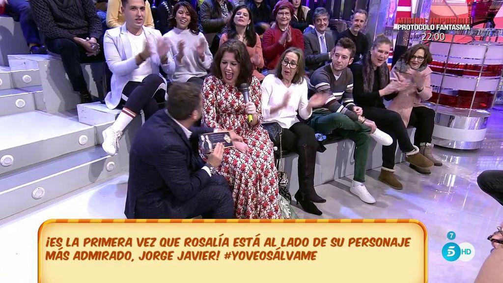 Rosalía cumple su sueño de estar al lado de Jorge Javier en el estreno de su obra