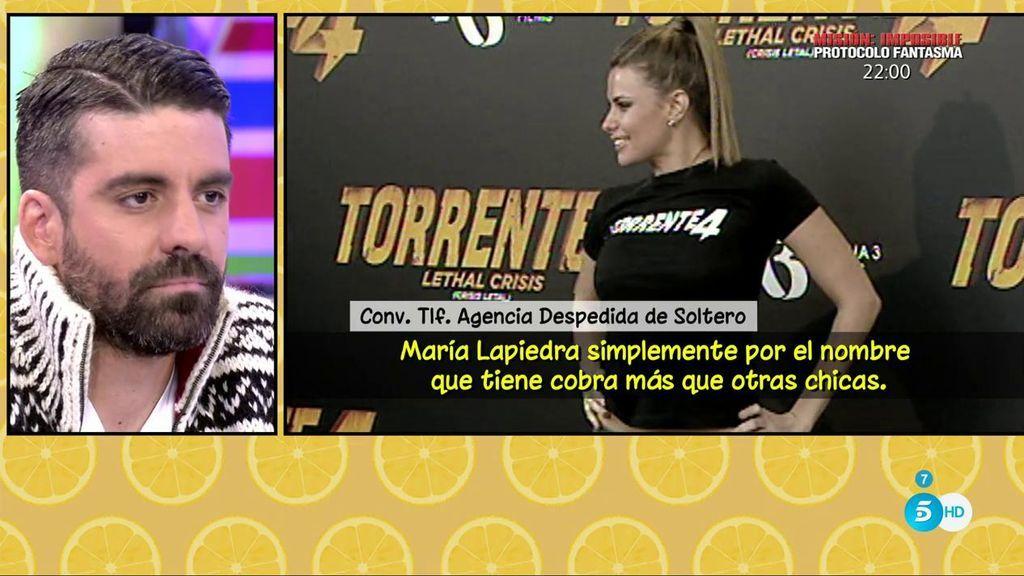 María Lapiedra cobra unos 250€ por un striptease de 10 minutos, según una agencia de despedidas de soltero