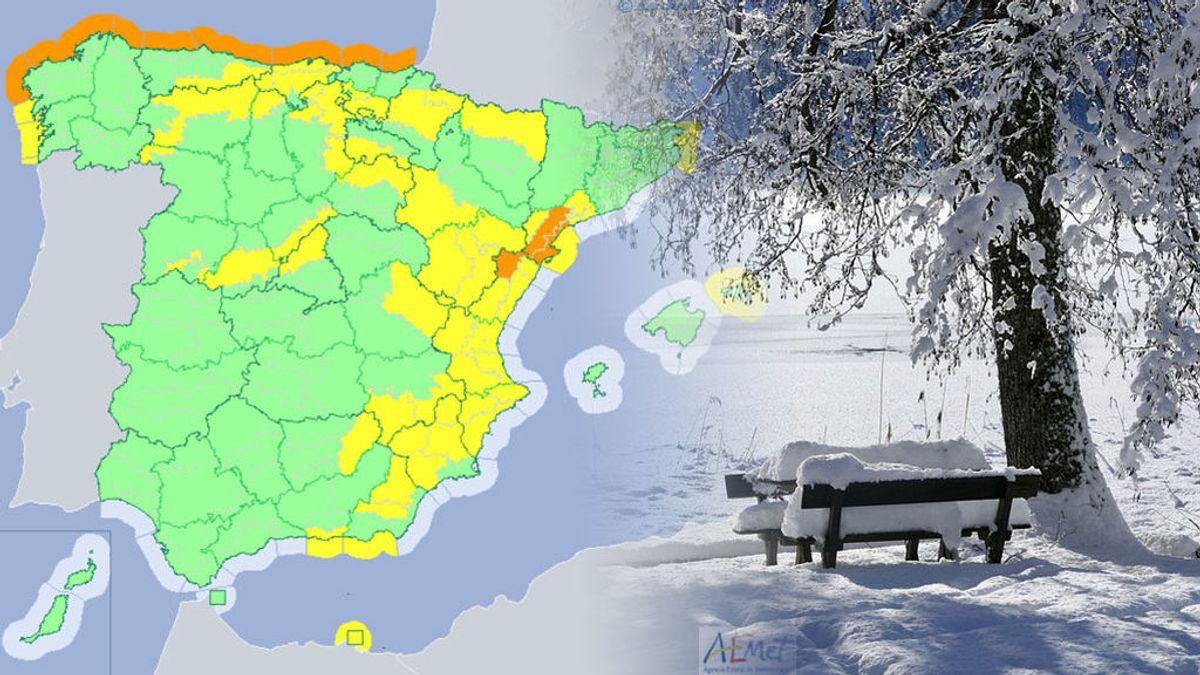 Viento, nieve y fuerte oleaje tendrán hoy a 36 provincias con aviso de riesgo o riesgo importante