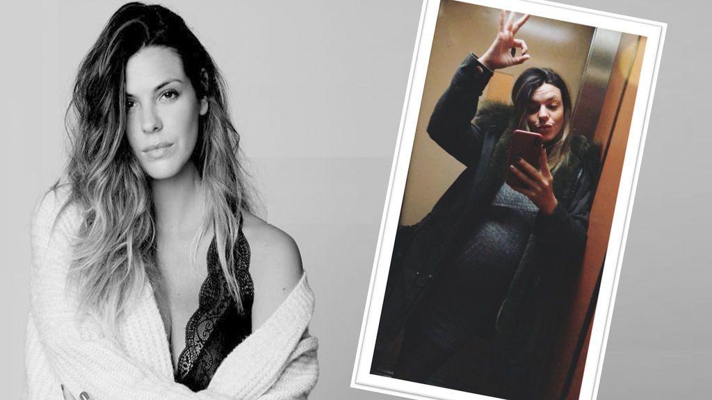 Laura Matamoros enseña cómo ha crecido su tripa de embarazada con un posado en el ascensor