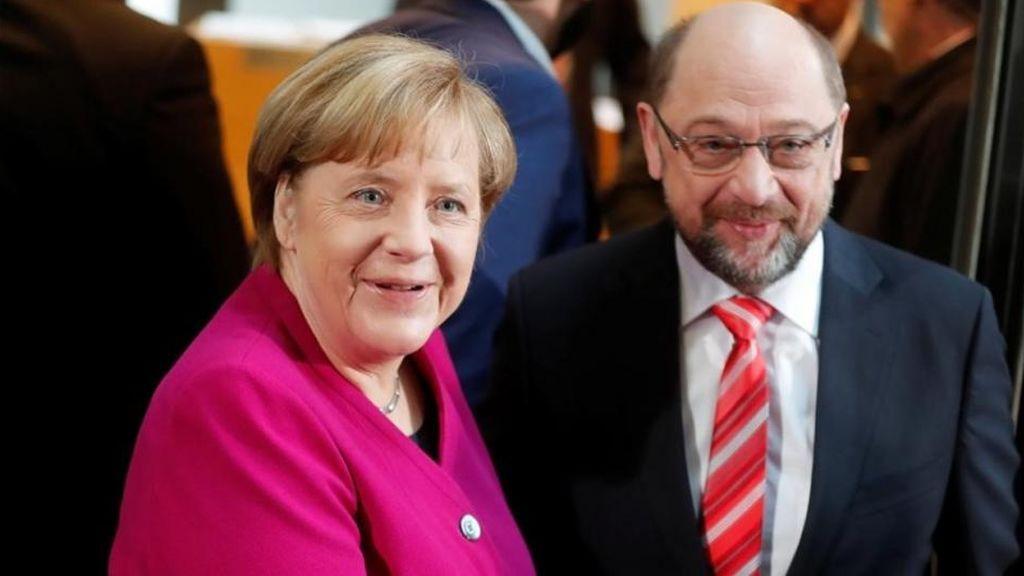 Merkel y el SPD acuerdan iniciar las conversaciones para formar una gran coalición