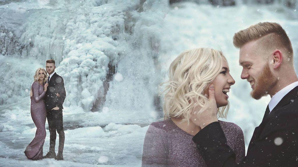 Amor, frío y hielo: el reportaje de fotos de ensueño en unas cascadas congeladas