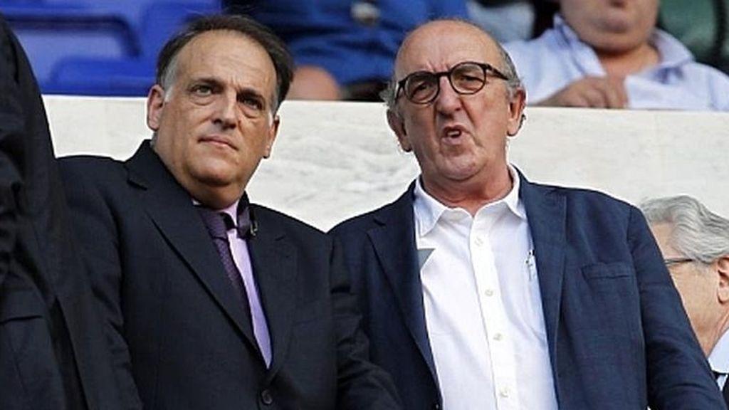 Javier Tebas y Jaume Roures, presidentes de La Liga y Mediapro, respectivamente.