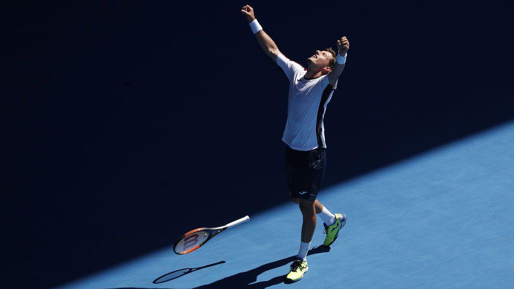 El tenista español Pablo Carreño celebra la victoria del Open de Australia contra Gilles Muller de Luxemburgo