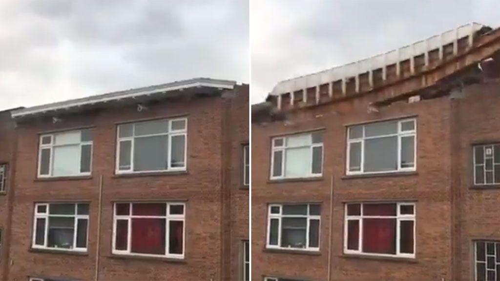 La borrasca David entra fuerte en Europa: este tejado sale volando como si fuese de cartón