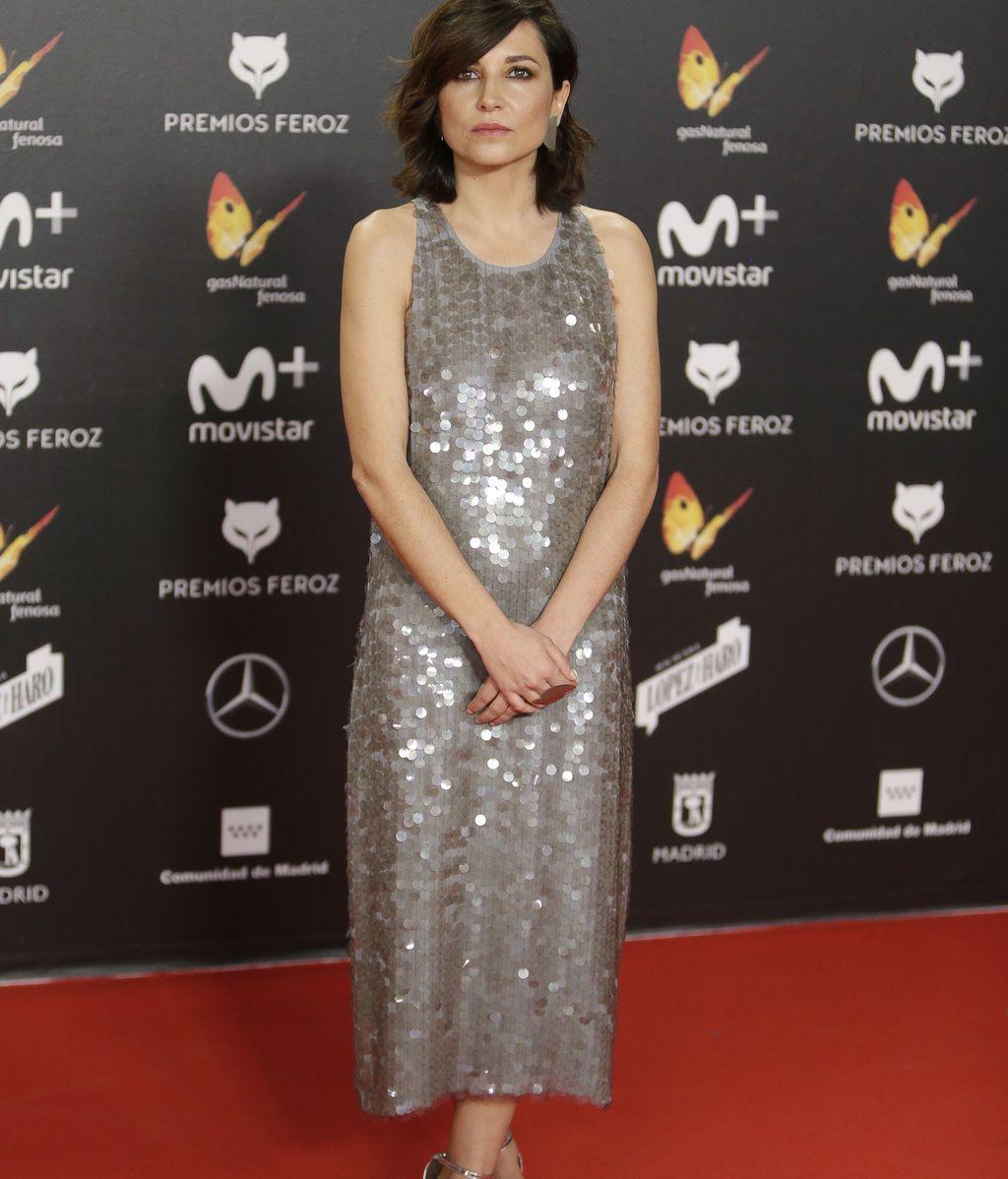 Marian Álvarez, con vestido de corte midi y lentejuelas