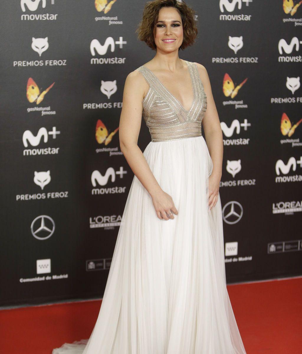 La actriz Celia Freijeiro, con un vestido de tul de Santos Costura