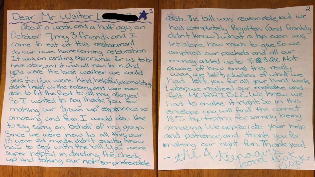 Adolescentes dejan una emocionante nota a un camarero al que le habían dejado una escasa propina