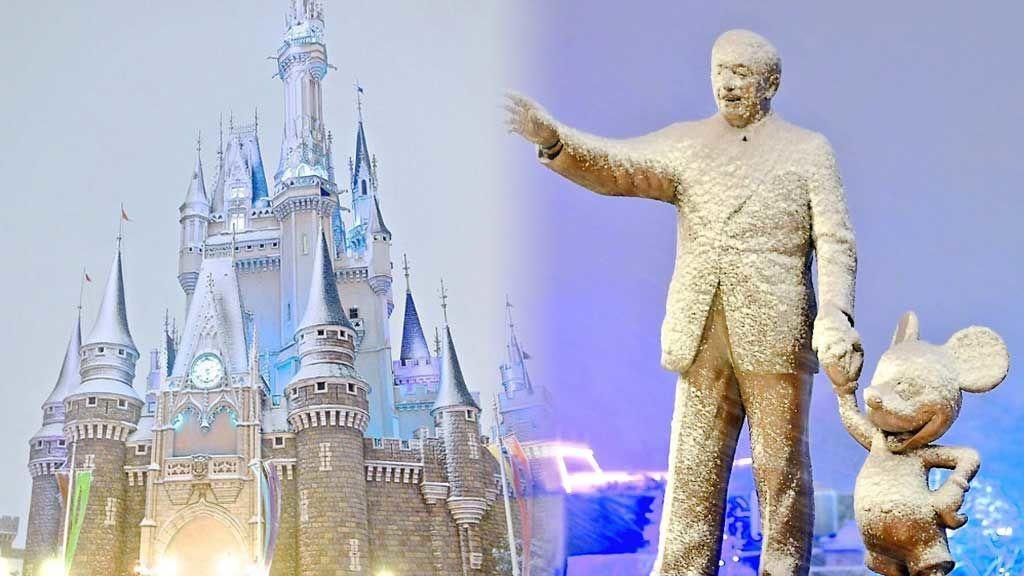 Una histórica nevada en Tokio convierte a Disneyland en el lugar más 'Frozen' del mundo