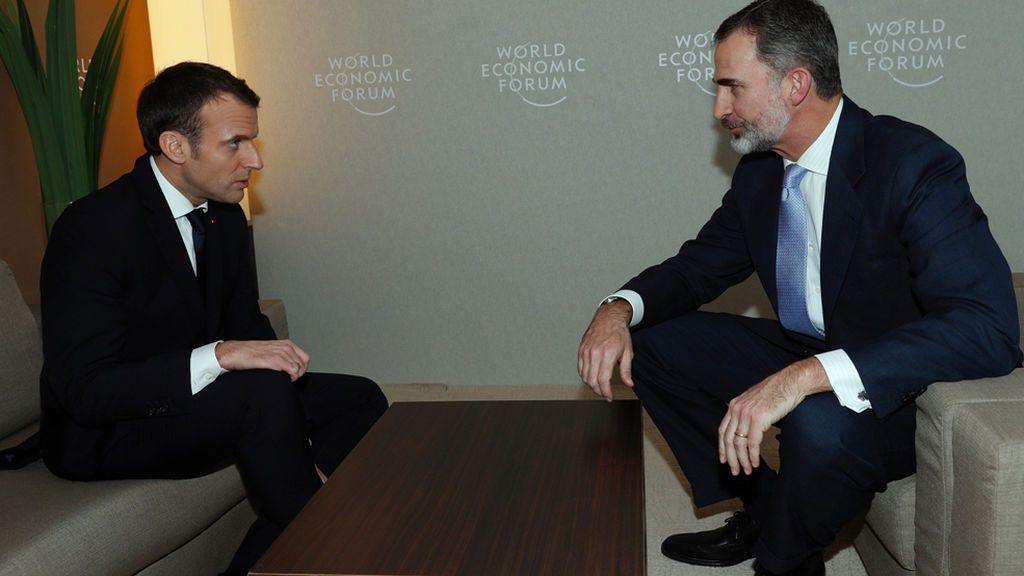 Encuentro con Macron, última actividad de Felipe VI en Davos