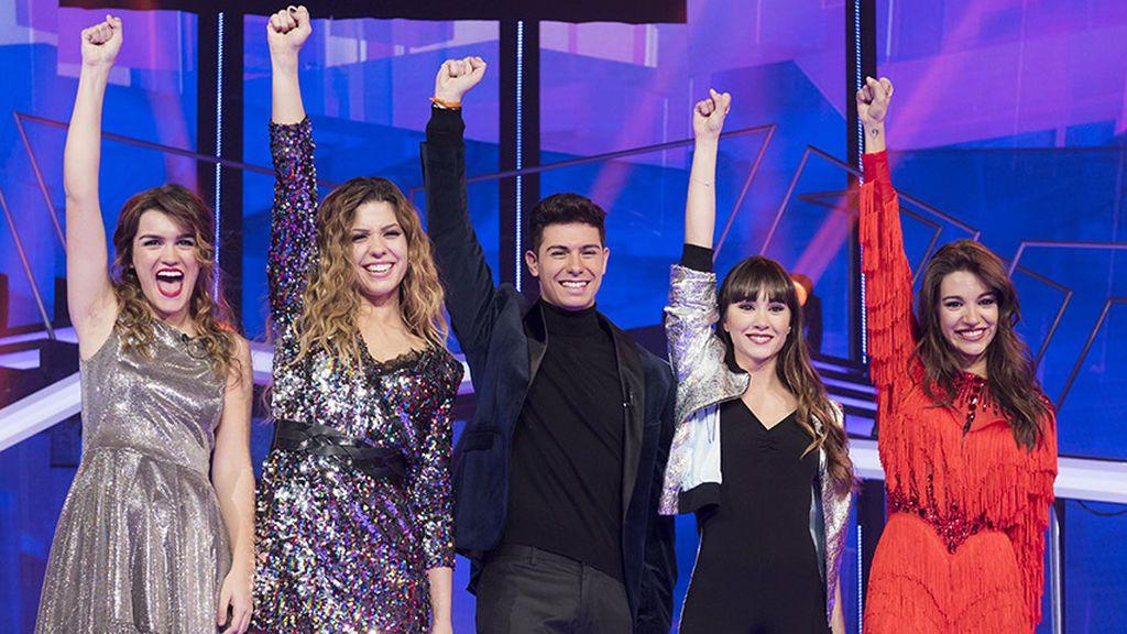 Amaia, Miriam, Alfred, Aitana y Ana Guerra, finalistas de 'Operación triunfo 2017'.