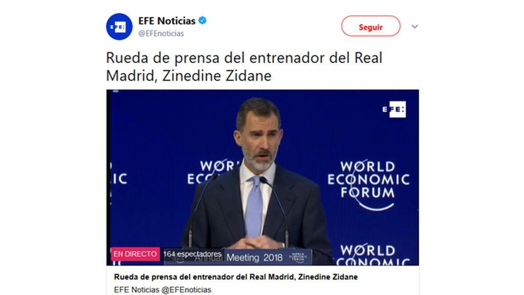 Confunden a Zidane con el rey Felipe VI y las redes sociales alucinan
