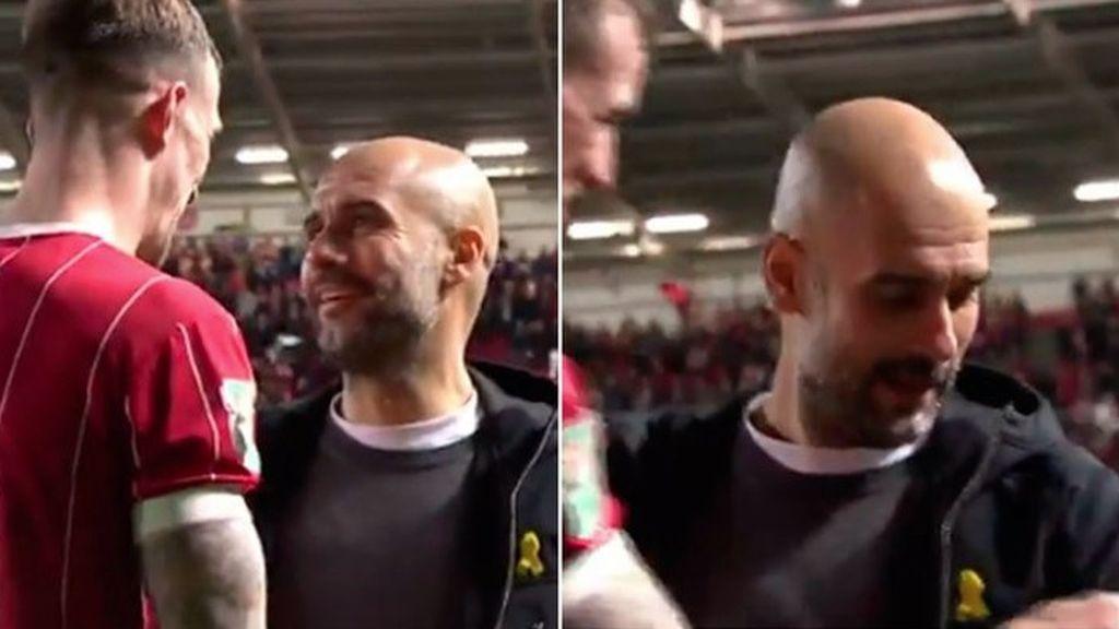¡El cambio más surrealista! Un futbolista rival pide a Guardiola su abrigo a cambio de su camiseta
