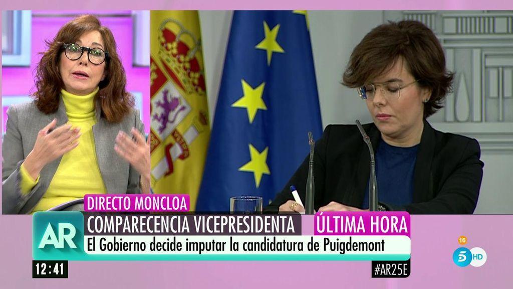 8aca4c81a3 Ana Rosa explica la razón por la que Soraya Sáenz de Santamaría lleva ahora  gafas