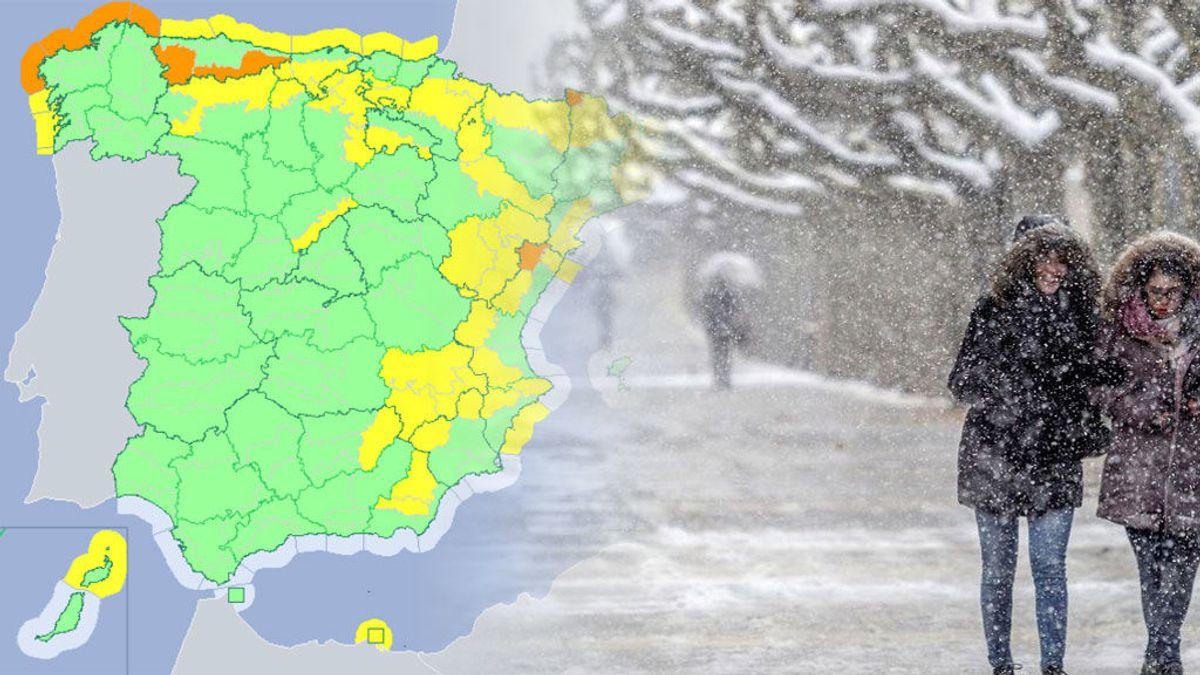 ¡Precaución avisos! Un total de 40 provincias en riesgo naranja y amarillo por viento, nieve, olas y lluvia