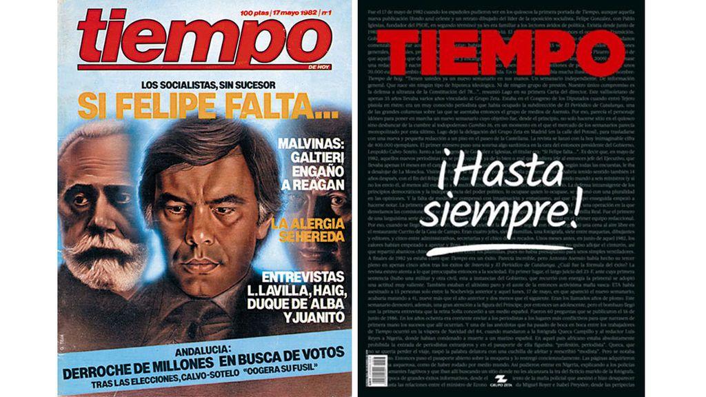 Primera y última portada de la revista 'Tiempo'.