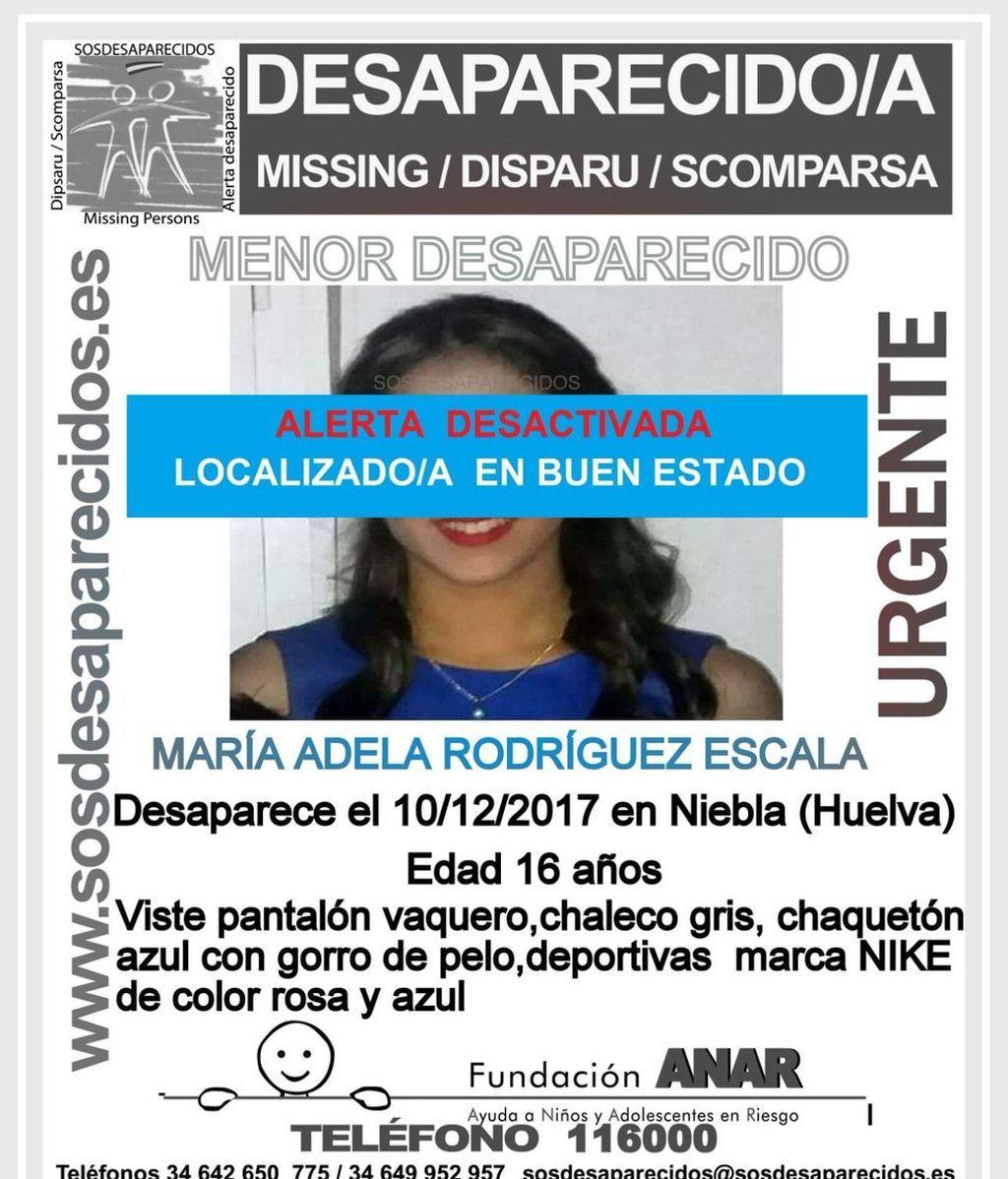 Localizan en buen estado a la menor de 16 años desaparecida en Huelva desde el pasado diciembre