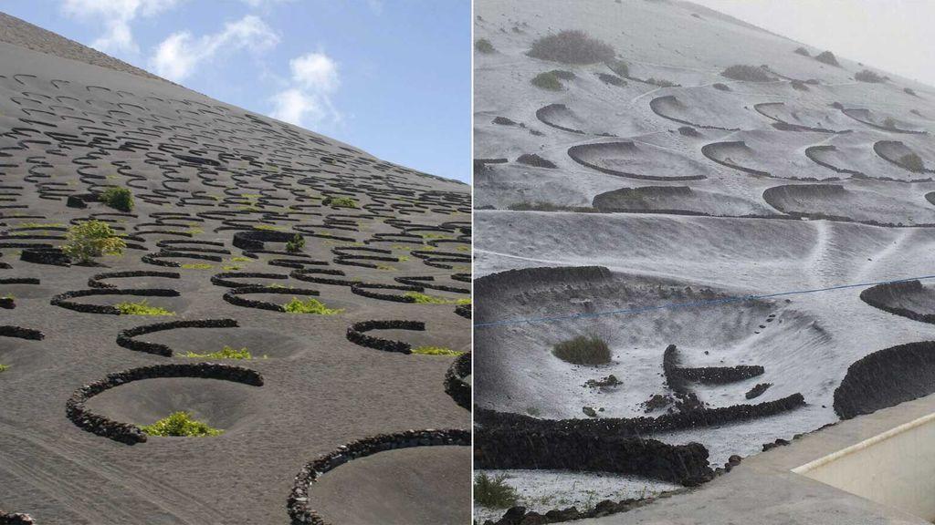 El desierto del Timanfaya en Lanzarote, nevado